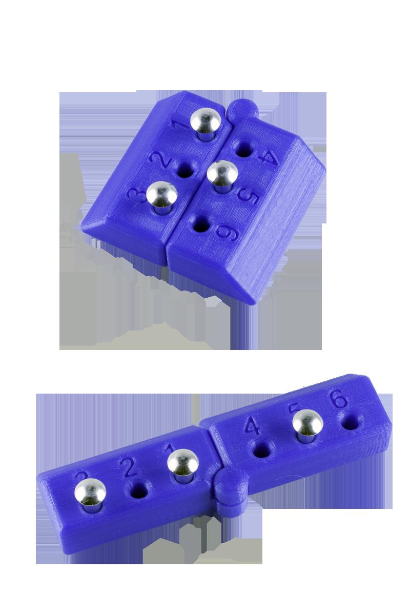 Punktskriftskloss – Plastmodell av punktskriftscell, 6 punkter.