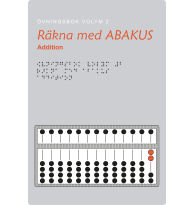 Räkna med abakus – övningsbok med punktskrift och svartskrift.