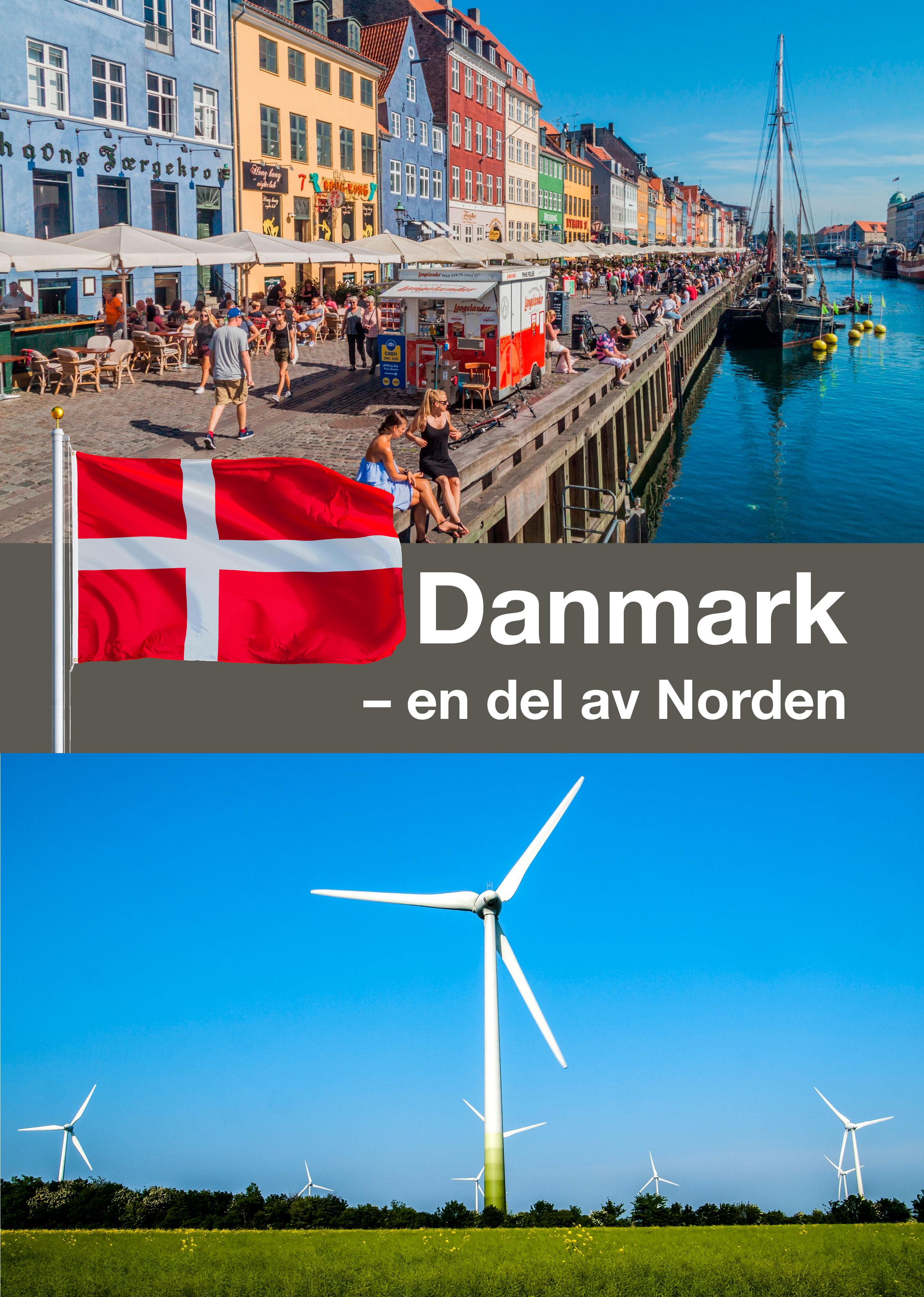 Kollage med en befolkad gågata i en dansk stad och ett vindkraftverk på en äng.