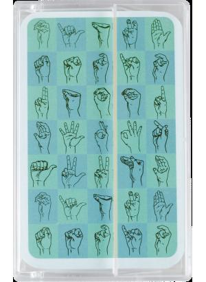 Kortlek teckenspråkets handformer.