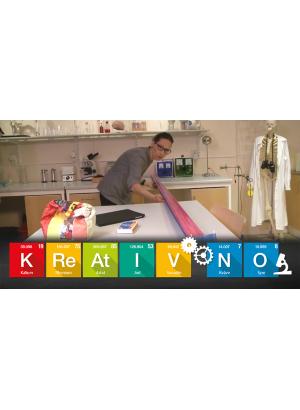 Ett laboratorium med rutor från det periodiska systemet som bokstaverar Kreativ NO.