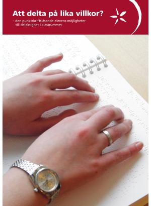 Framsida, bild på två händer och punktskrift