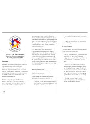 Insatser för inkluderande undervisning, Luxemburgrekommendationerna.