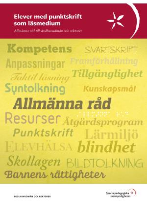 Bild med texten elever med punktskrift som läsmedium.